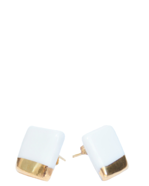 Gold and Porcelain White Earrings