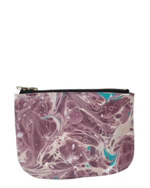 Leather Marble Splatter Coin Purse