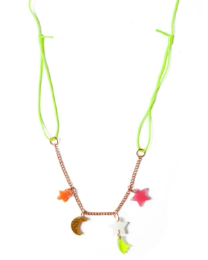 Neon Stars and Moon Necklace
