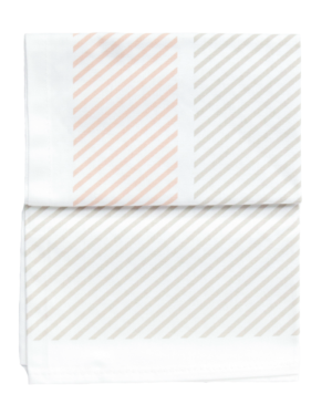 Peach and Grey Lined Tea Towel