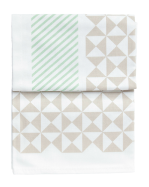 Green Geometric Print Tea Towel