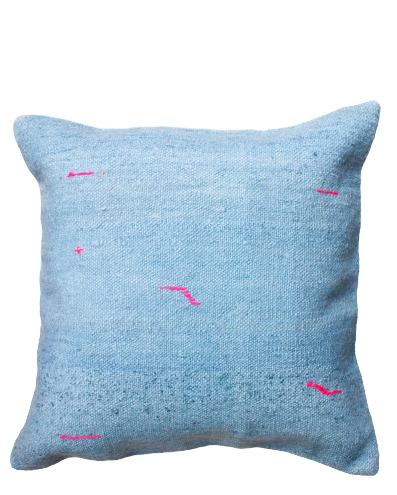 Blue Kilim Pillow with Pink Stitching – The Littlest Fry