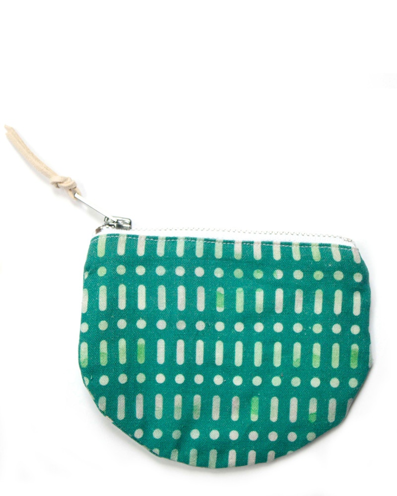 Green Patterned Cotton Pouch – The Littlest Fry