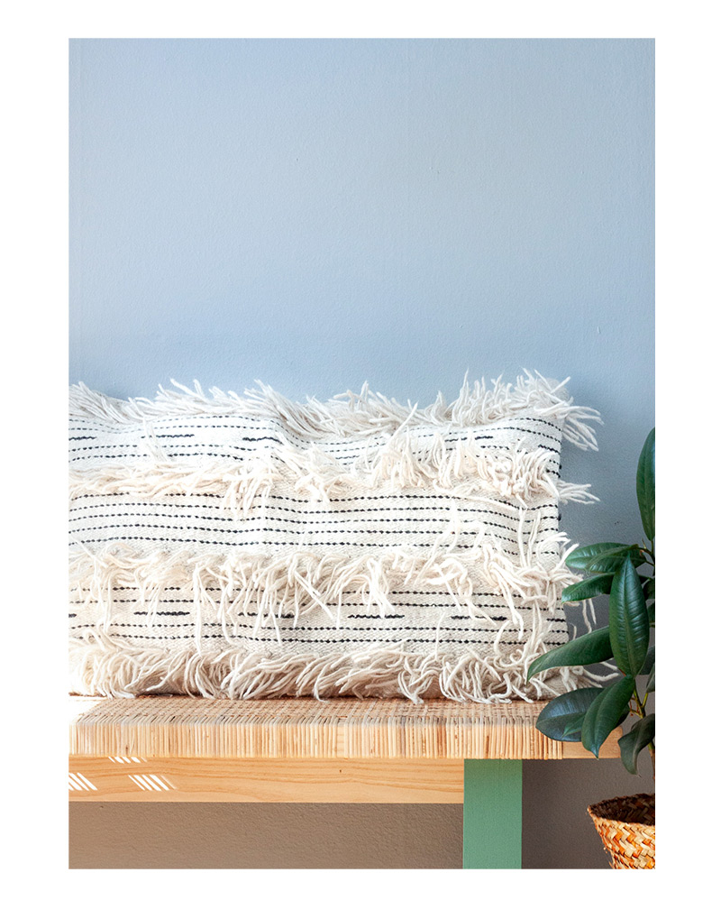 White Fringe Cushion – The Littlest Fry